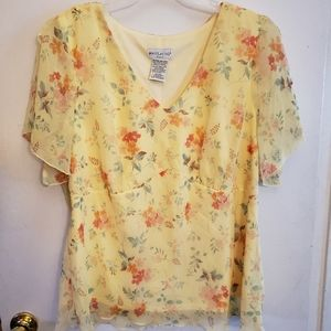 White Stag Flowy Light Yellow Top and Skirt